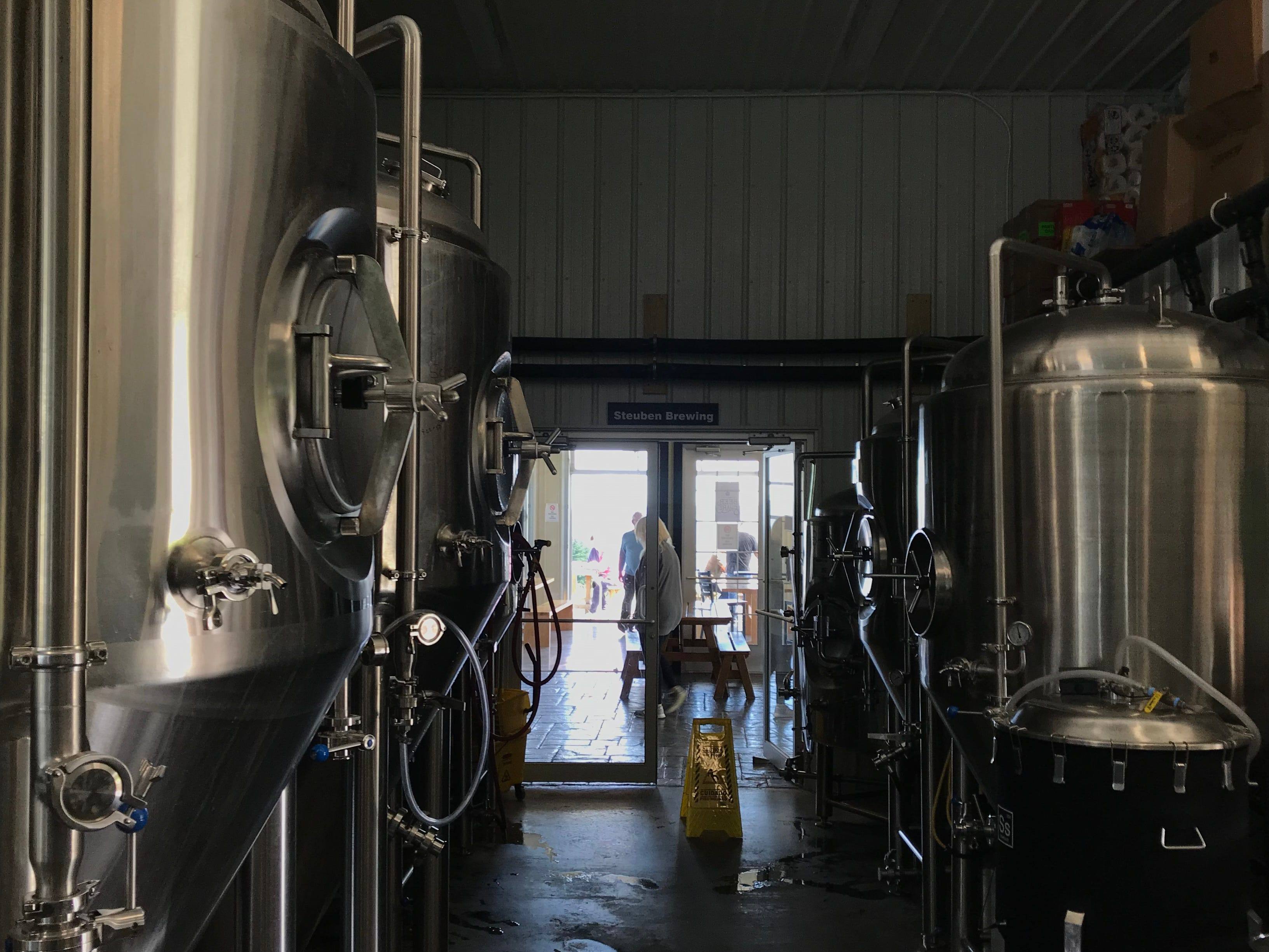 Looking out from the brewhouse into the taproom at Steuben Brewing on Keuka Lake