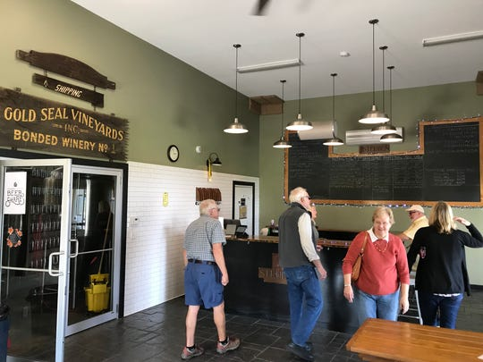 Patrons arrive at Steuben Brewing on Keuka Lake.