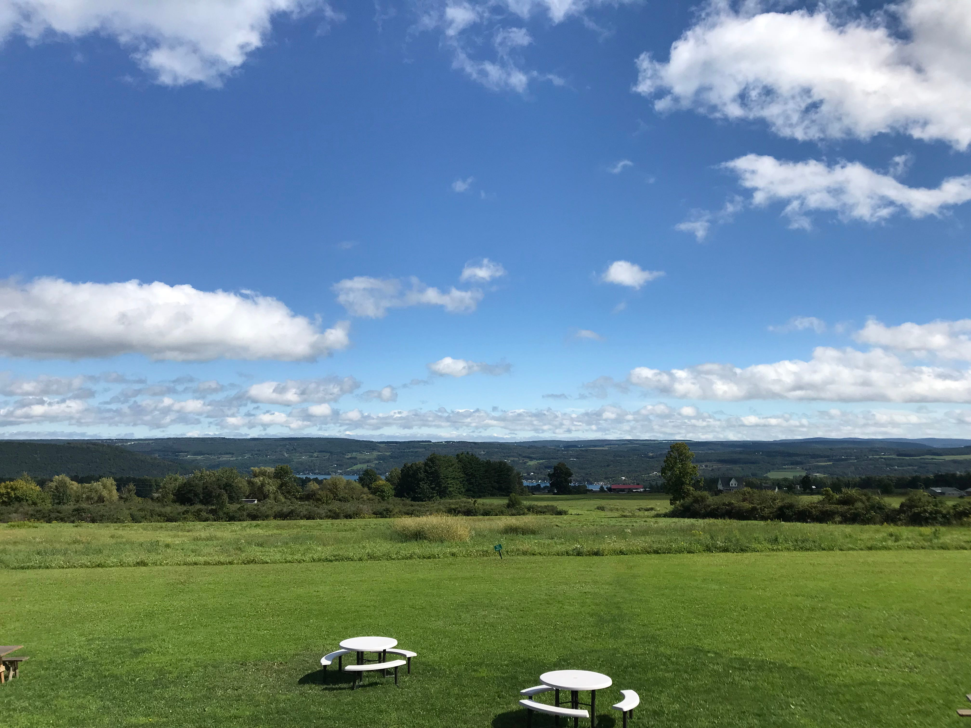 The endless view at Steuben Brewing features Keuka Lake in the background.