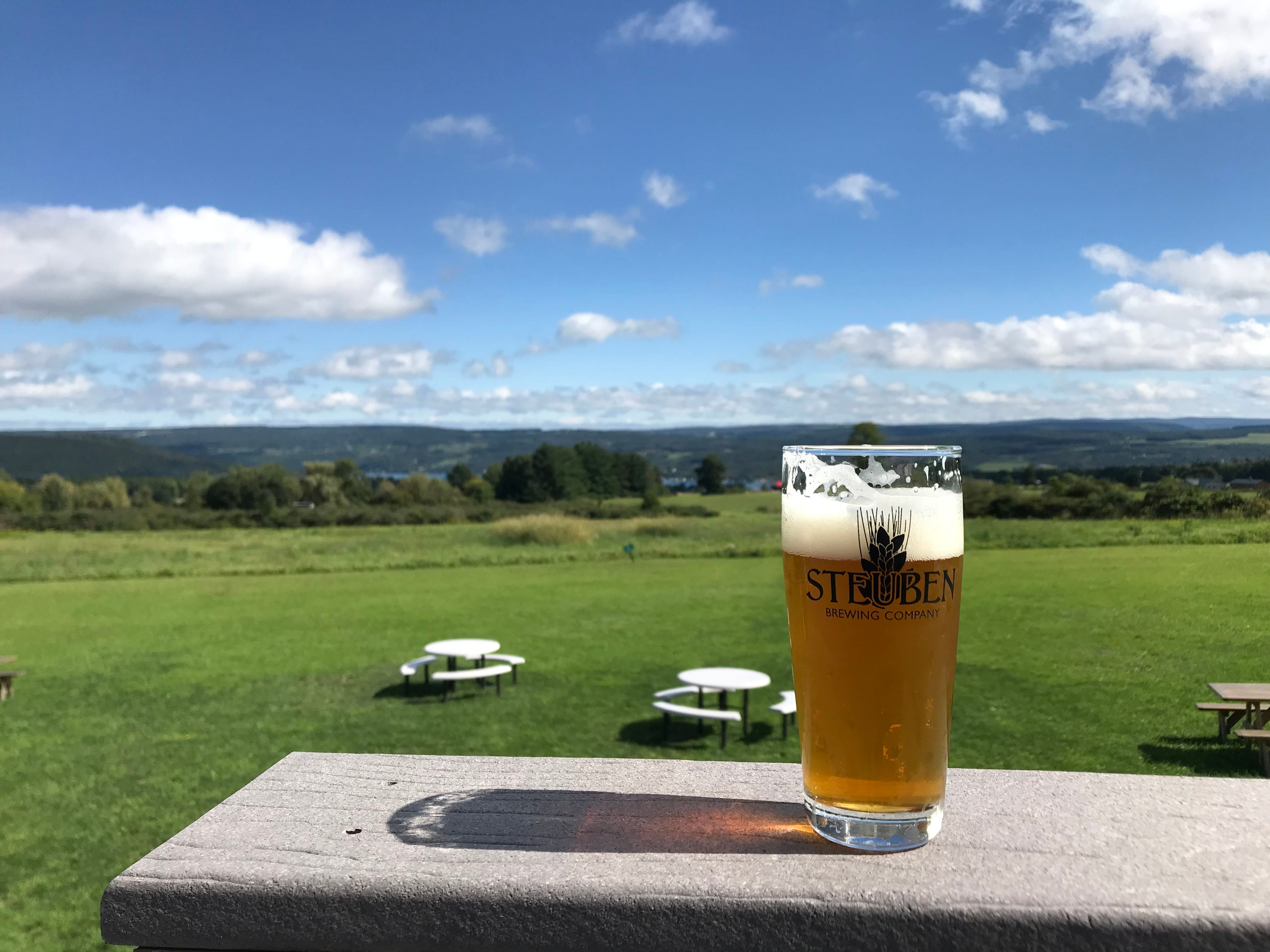A fresh lager enjoyed with the bucolic view at Steuben Brewing on Keuka Lake.