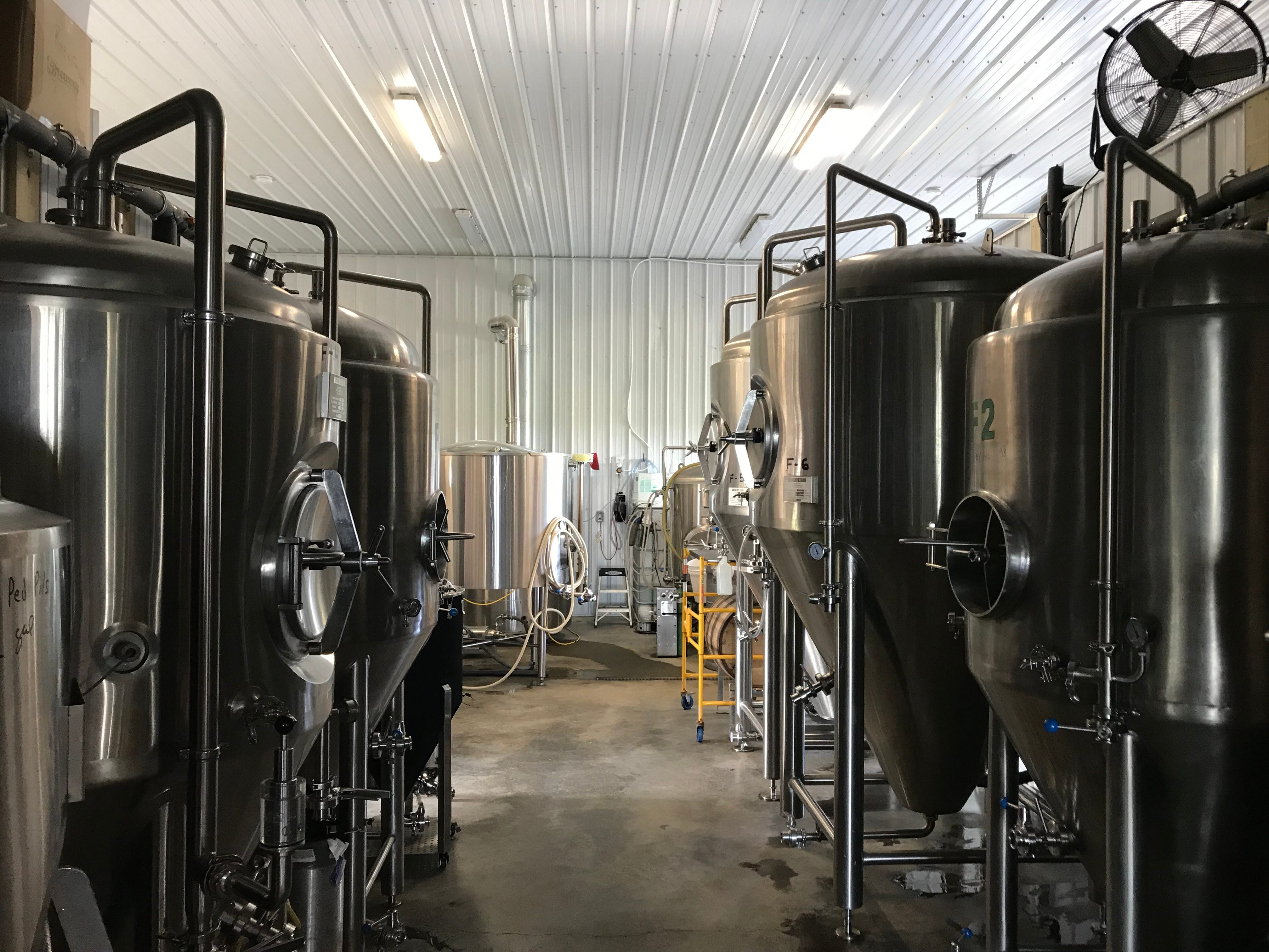 The 7-barrel brewhouse at Steuben Brewing.