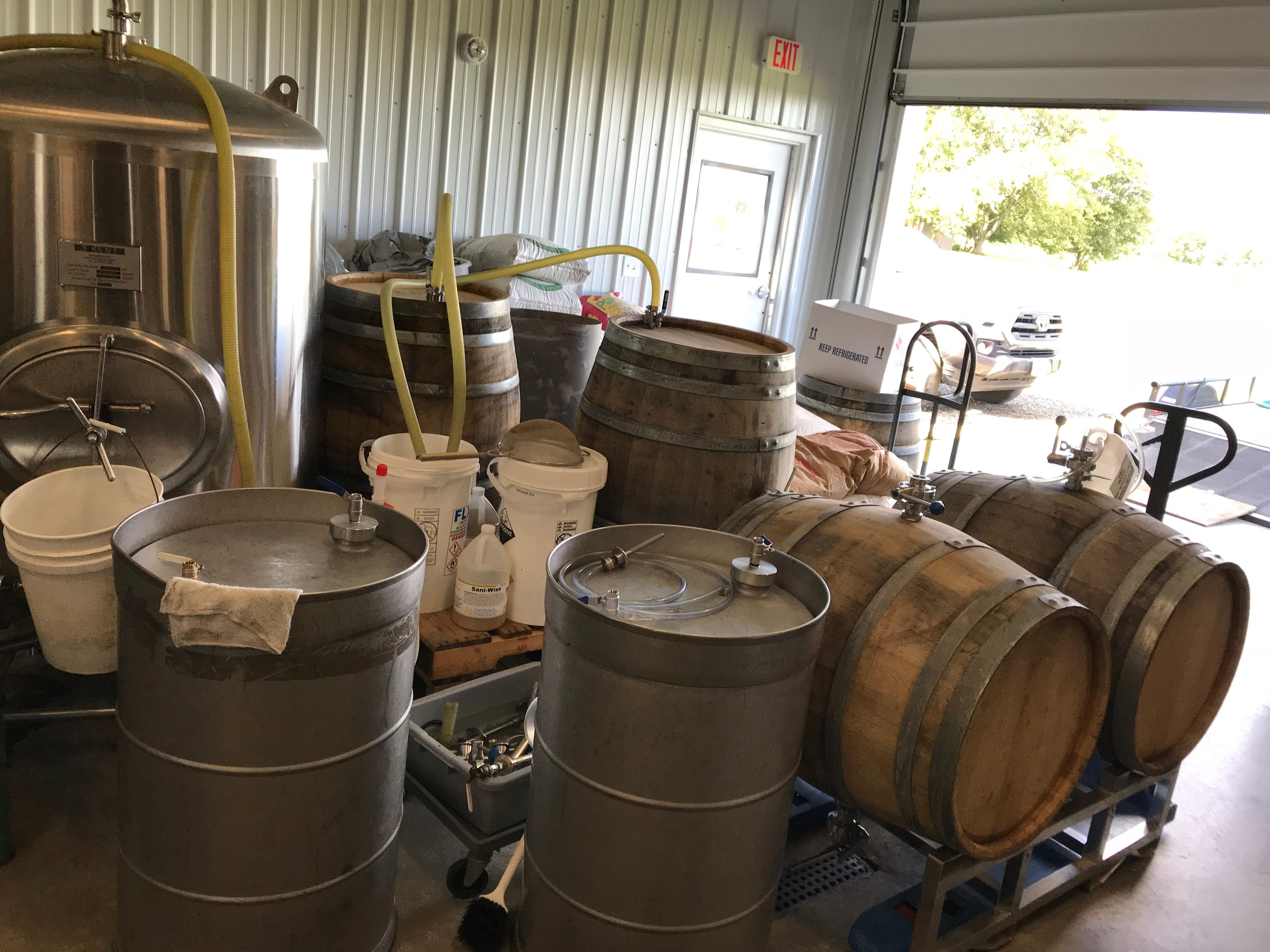 The nascent barrel-aging section of Steuben Brewing on Keuka Lake.