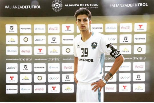 Former Lake View High School soccer standout Jordan Reyes is shown here after making the Alianza de Futbol Super Team.