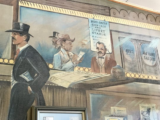 Another view of the 1950s painting of the Arc Light Saloon gives insight into the clientele.  This mural is in the Heritage Haus at 230 S. Chadbourne.