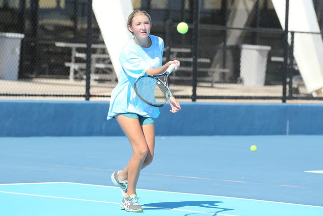 San Angelo Central High School senior Natalie Pfluger is one of the Lady Cats' most experienced players in 2018. The Central tennis team is having a great season under new head coach Brent Abilez.