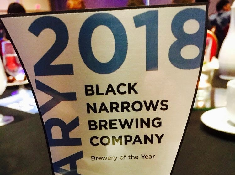 Black Narrows Brewing Company was named Brewery of the Year by the Virginia Restaurant, Lodging and Travel Association.