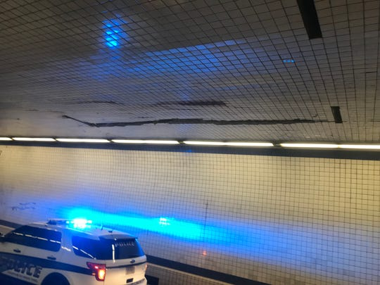 A piece of heavy equipment that fell off a truck on Monday, Oct. 2, 2018 damaged the tunnel interior on the Chesapeake Bay Bridge-Tunnel.