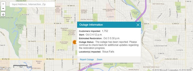 An Xcel Energy outage map