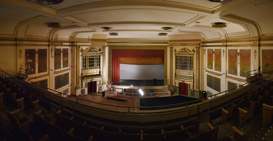 The State Theatre Tuesday, Oct. 2, in downtown Sioux Falls. The State Theatre has been undergoing updates and renovations. This photo was created by a series of images.