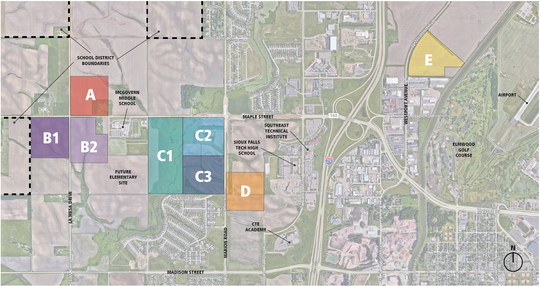 A map from Architecture, Inc. highlights eight possible sites for a new Sioux Falls high school.