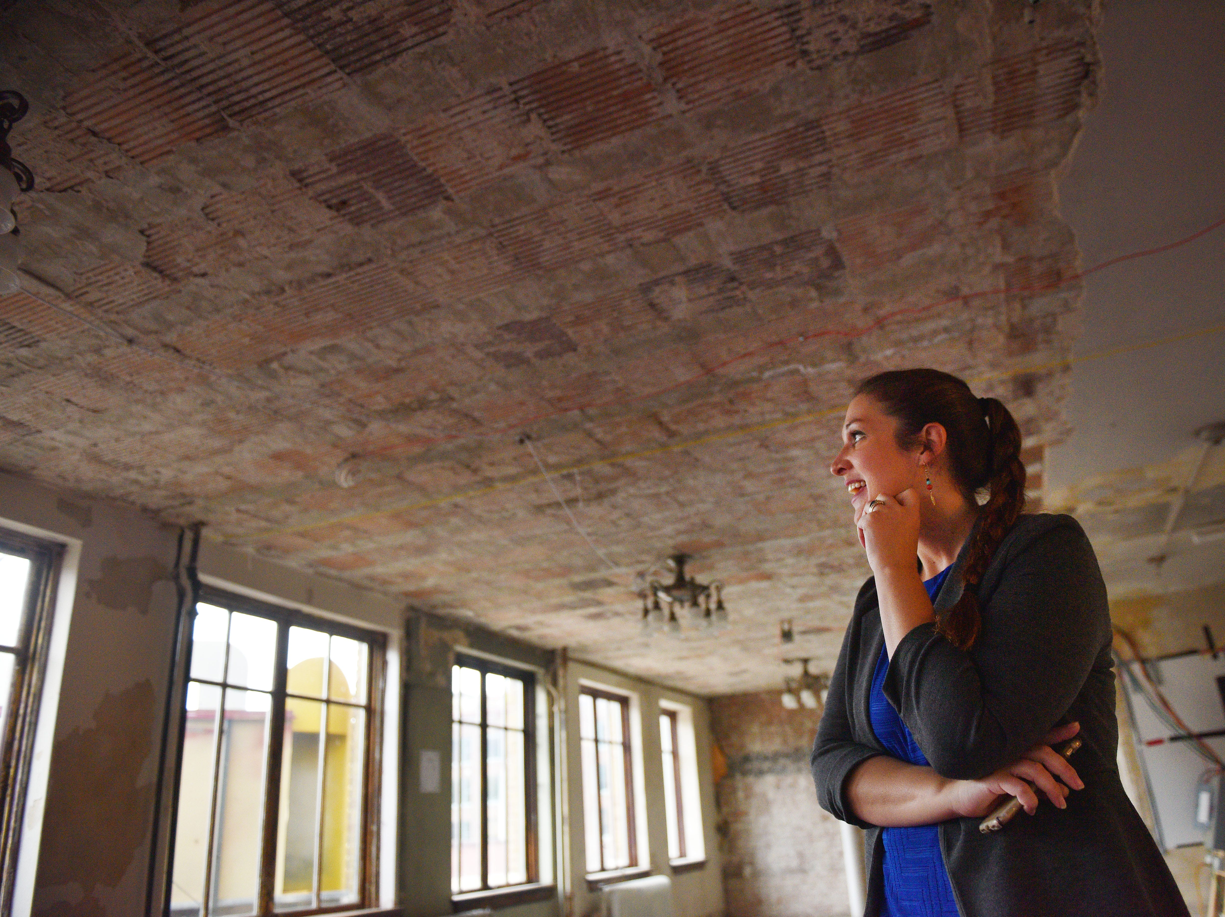 Development coordinator Allison Weiland gives a tour of the State Theatre Tuesday, Oct. 2, in downtown Sioux Falls. The State Theatre has been undergoing updates and renovations.