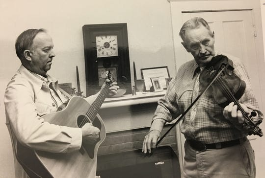 In its early years, the Springfield Regional Arts Council began putting on a number of cultural events with local people in mind. This 1980 photo shows Gordon McCann and Art Galbraith rehearsing for an Ozarks heritage musical festival, put on at three venues in a single day.