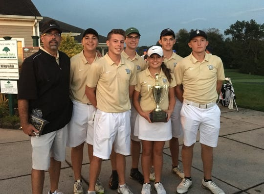 Wilson Memorial's golf team poses with the championship trophy after winning the team title at the VHSL Class 2, Region B tournament on Tuesday, Oct. 2, 2018, at Heritage Oaks Golf Course in Harrisonburg, Va.