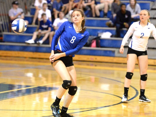 Fort's Casey Mozingo donned the blue libero jersey Tuesday at home. After injuring her shoulder she was only allowed to play the defensive position against Rockbridge County.