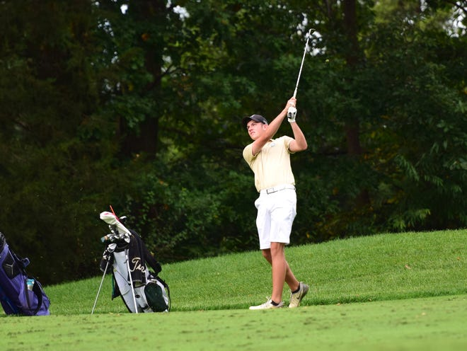 Wilson Memorial's Patrick Smith strikes his tee shot on the 12th hole during the VHSL Class 2, Region B golf championships on Tuesday, Oct. 2, 2018, at Heritage Oaks Golf Course in Harrisonburg, Va.