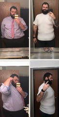 Aaron Firkus is shown before and after losing 200 pounds. He's raising money for surgery to remove excess skin, which isn't covered by insurance.