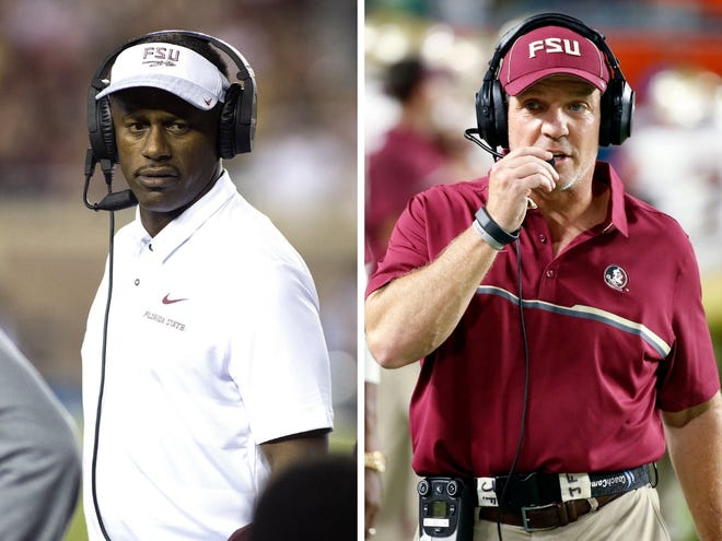 LEFT: Florida State Seminoles head coach Willie Taggart coaches as the Florida State Seminoles host the Samford Bulldogs at Doak Campbell Stadium. (Glenn Beil, Glenn Beil-USA TODAY Sports) RIGHT: Florida State head coach Jimbo Fisher walks the sidelines during the first half of an NCAA college football game against Miami, Saturday, Oct. 8, 2016, in Miami Gardens, Fla. (AP Photo/Wilfredo Lee)