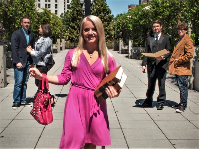 """Elaina Zwiener is Elle  Woods in Quincy Music Theatre's version of """"Legally Blonde: The Musical."""""""