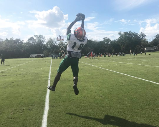 FAMU wide receiver  Ferante Cowart makes a leaping catch near the sideline in practice.