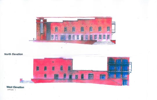 Renderings of plans for the former Wahnish Cigar Factory and Tobacco Warehouse in the All Saints District.