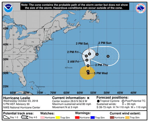 hurricane leslie forms in atlantic forecast and path system in