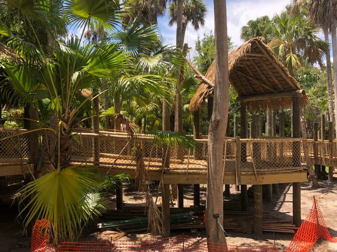 These Bamboo Village Huts and boardwalk are part of the children's garden currently under construction at McKee Botanical Garden in Vero Beach.