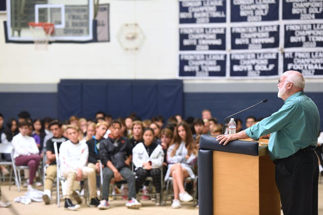 The Rev. Greg Boyle, a Jesuit priest and founder of Homeboy Industries, visits Villanova Preparatory School in Ojai on Tuesday.