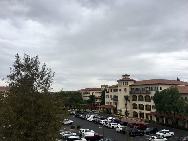 Clouds hover over a Camarillo business center.