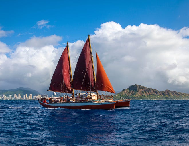 After a 2,800-mile journey powered by the sun and wind, the crew of the Polynesian voyaging canoe Hikianalia will sail into Ventura Saturday.