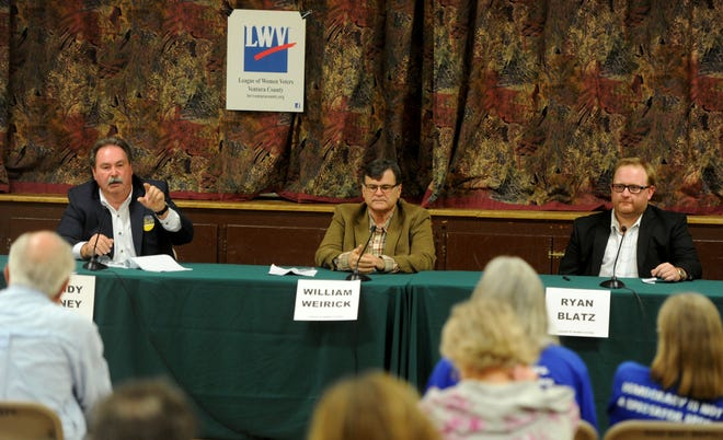 From left, Randy Haney, William Weirick and Ryan Blatz, the three candidates for Ojai City Council, debate at the Boyd Center. The forum was put on by the League of Women Voters.