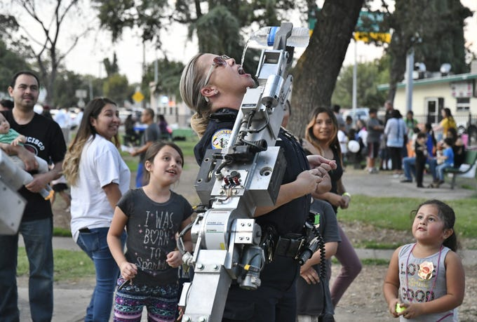 Visalia Police Department hosted its Night Out Against Crime on Tuesday. Neighborhood parties were held throughout the city including at Lincoln Oval Park in central Visalia. The park event featured food, fun and games. The event is part of a national project aimed at connecting communities with their local first responders, officers said.