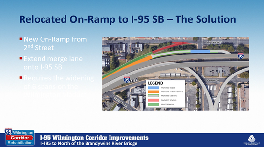 An DelDOT document shows how the Jackson Street on-ramp will be removed during the I-95 project in 2021 and a single ramp from Second Street will take its place.