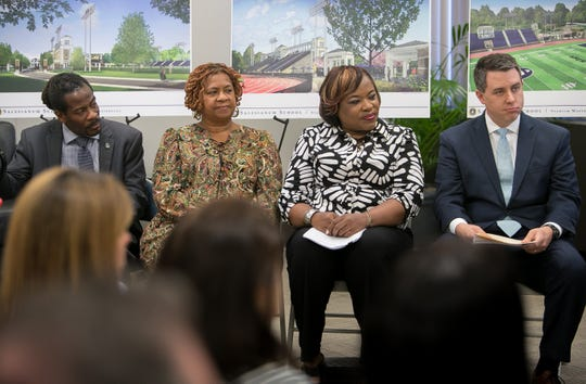 Nnamdi Chukwuocha (from left), Hanifa Shabazz, Michelle Harlee and Brendan Kennealey president of Salesianum are in attendance as the City of Wilmington and Salesianum School announce Wednesday a tentative lease agreement that will allow Salesianum to raise $15 million to $20 million in private funds to completely renovate the 96-year-old facility and take over its operation.