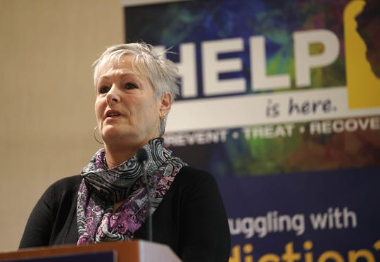 Susan Dembowczyk, a peer support specialist for Project Engage, speaks during the launch of START: Substance Use Treatment and Recovery Transformation.