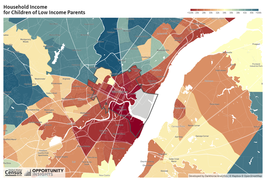 """A map of economic mobility in Wilmington by census tract in a U.S. Census Bureau tool called """"The Opportunity Atlas."""" In areas that are more red, people who grew up poor tended to stay poor. In areas that are more blue, people who grew up in low-income households are making more money than their parents did."""
