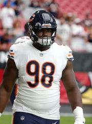 Chicago Bears defensive tackle Bilal Nichols (98) in the first half during an NFL game against the Arizona Cardinals Sept. 23.