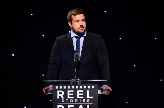 """Will Fetters speaks at the sixth annual """"Reel Stories, Real Lives"""" event benefiting MPTF at Milk Studios on November 2, 2017, in Hollywood."""
