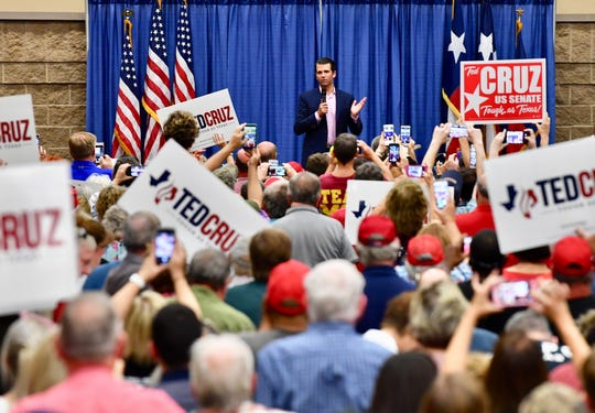 Donald Trump Jr. speaks at a political rally for U.S. Sen. Ted Cruz at the Multi-Purpose Events Center in Wichita Falls on Wednesday, Oct. 3, 2018.