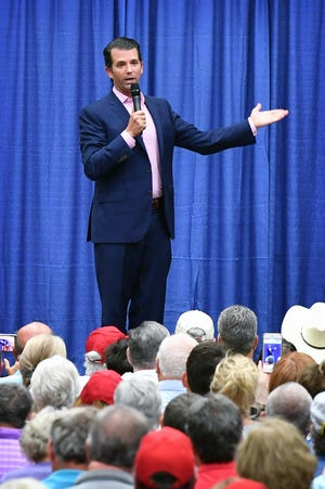 Donald Trump Jr. speaks Wednesday afternoon at a campaign rally for U.S. Senator Ted Cruz at the Ray Clymer Exhibit Hall in Wichita Falls, Texas.