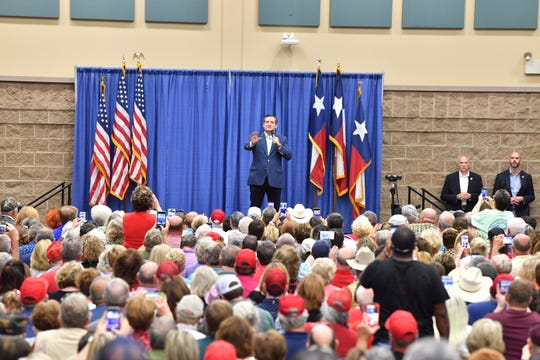 U.S. Sen. Ted Cruz speaks at a political rally that also featured Donald Trump Jr. at the Multi-Purpose Events Center in Wichita Falls on Wednesday, Oct. 3, 2018.