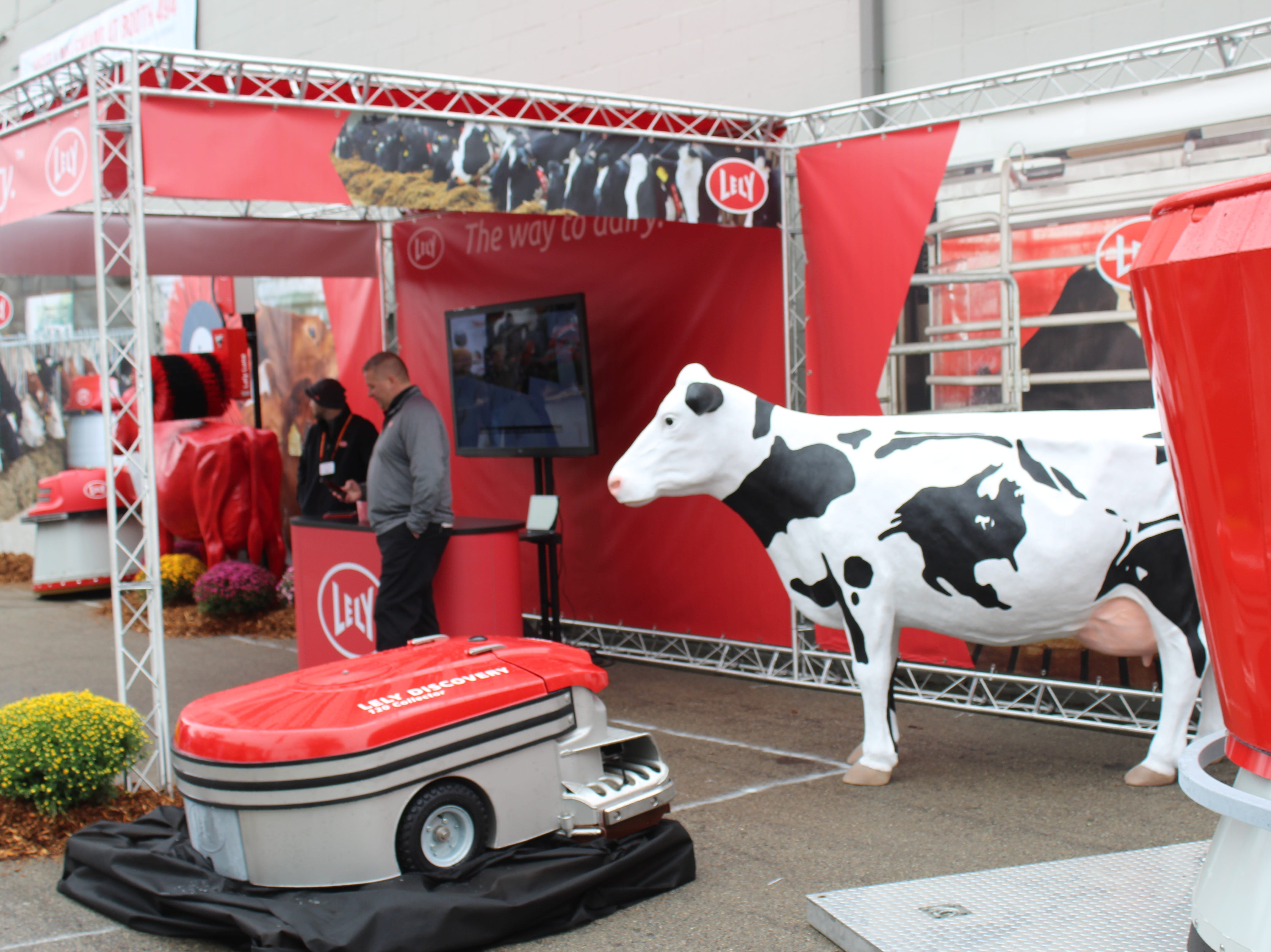 A Lely robotic display outside the arena.