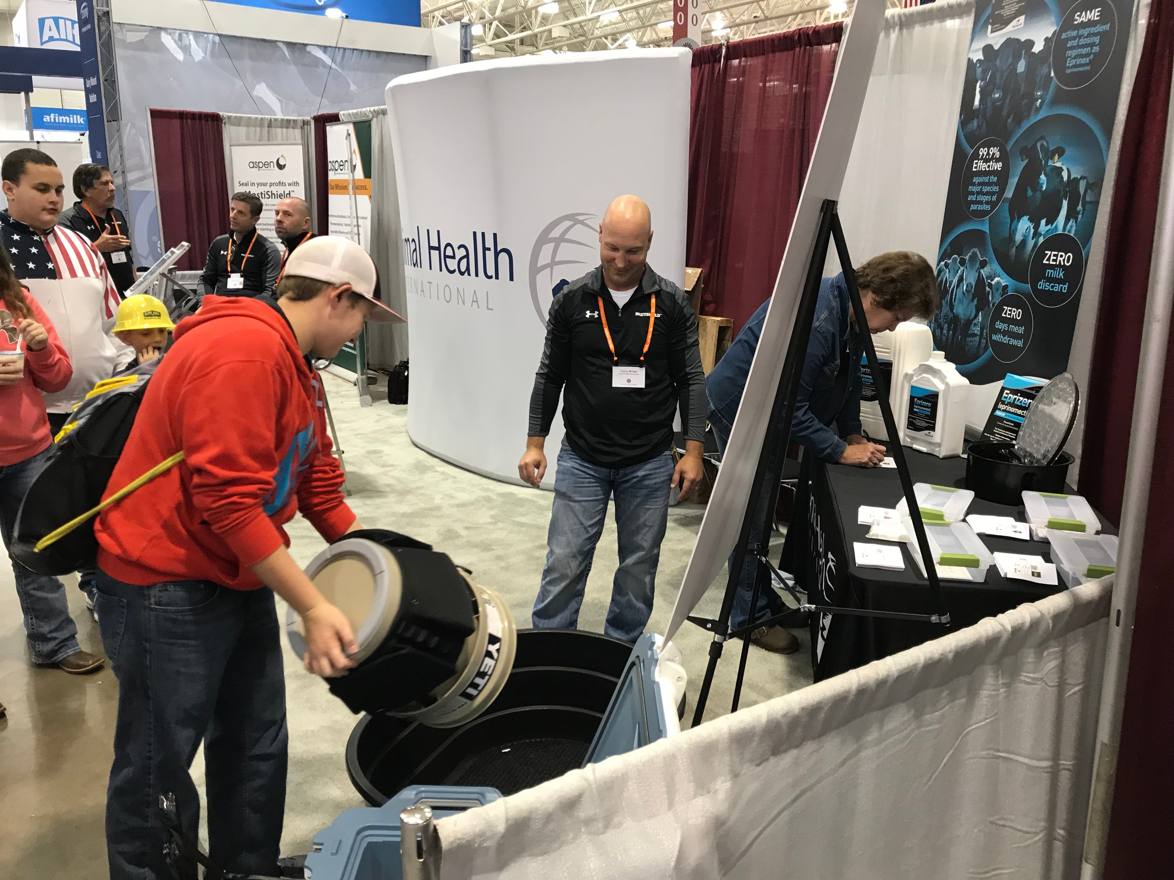 Kids will do anything to win swag at the trade show.