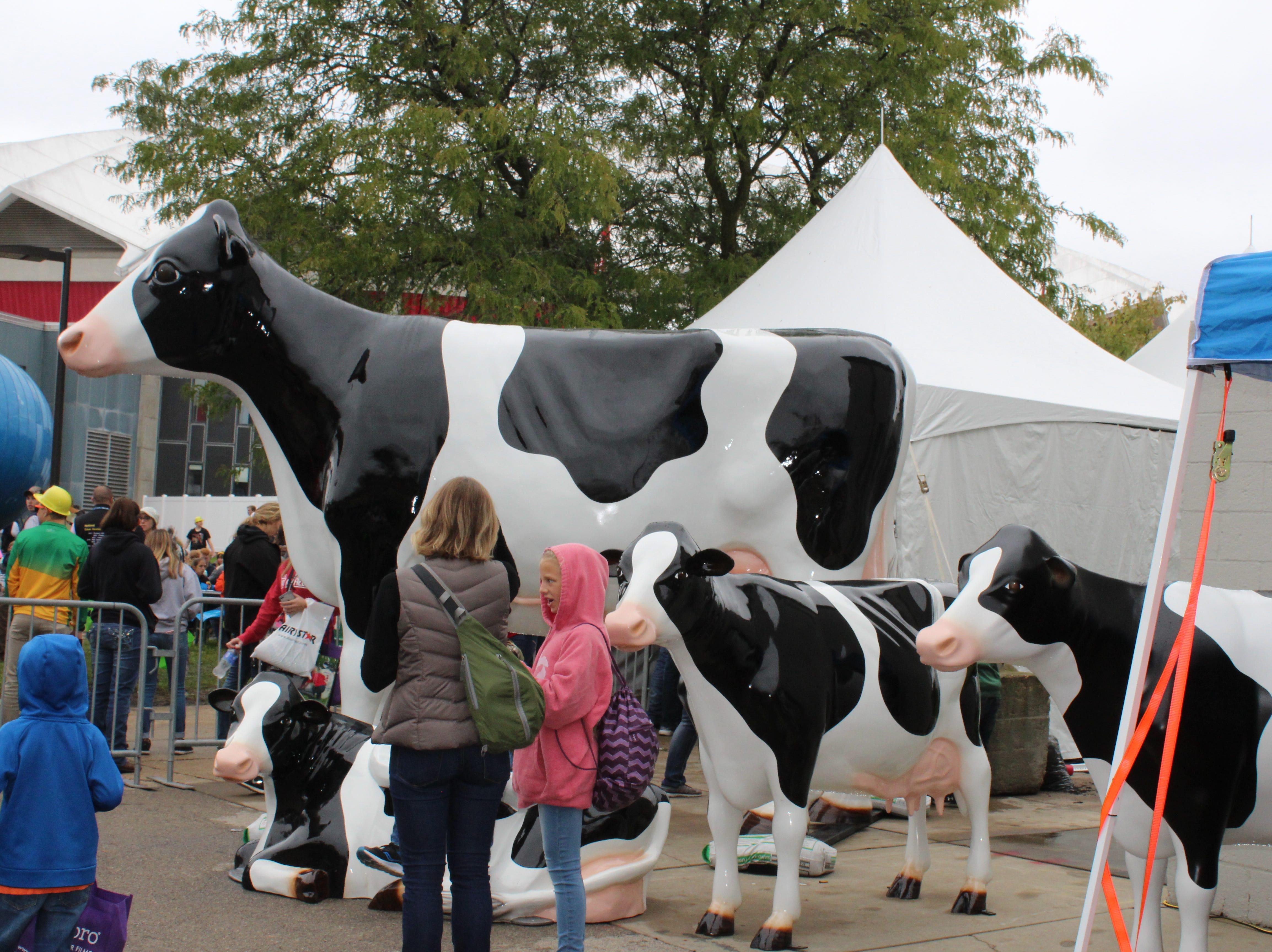 Kids can't resist the large fiberglass bovine family.