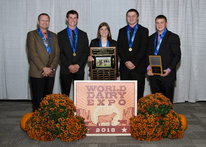 A team from Wisconsin won the National 4-H Judging Contest at World Dairy Expo on Oct. 1. The winning group consists of Cole Mahlkuch, Brian McCullough, Rachel McCullough and Clayton Mahlkuch and was coached by Mike Marean.