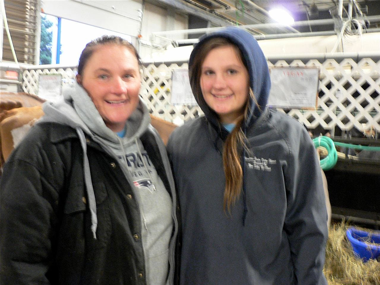 Sue Kleingartner (left) and her daughter, Sydney  from Gackel, North Dakota, brought three Ayrshires and a Brown Swiss.