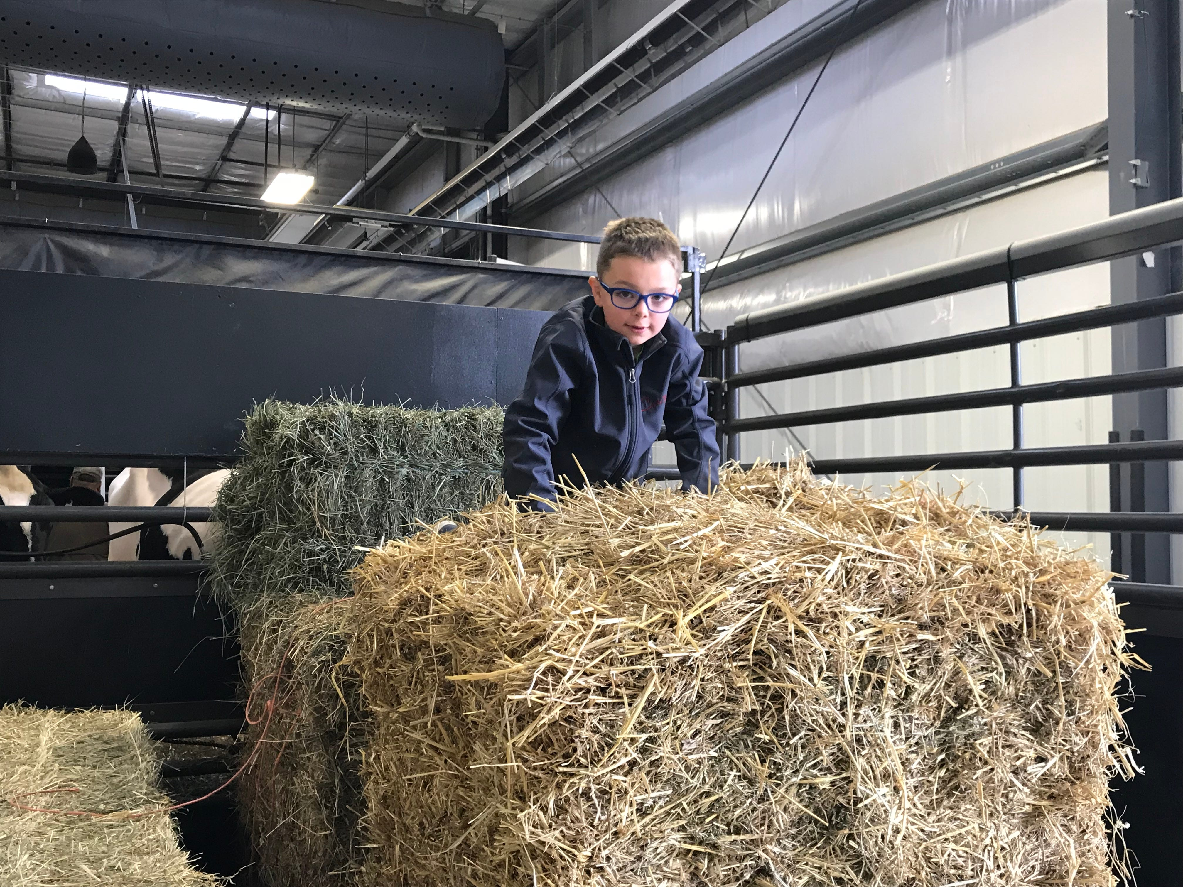 Big straw and hay bales make the best playground inside the New Holland Pavilion.