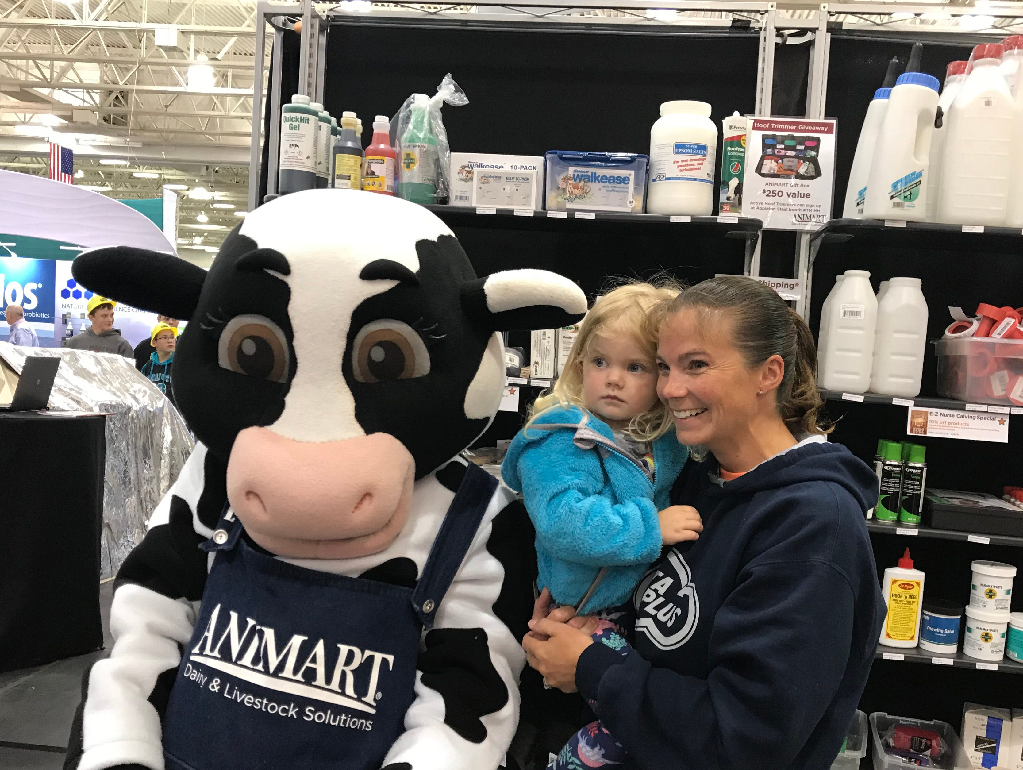 A quick post with the Animart mascot inside the Exhibition Hall at World Dairy Expo.