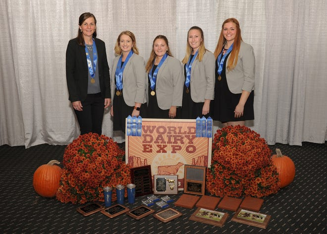 SUNY Cobleskill captured top honors for the second year in a row with the overall team title in the International Post-Secondary Dairy Cattle Judging Contest at World Dairy Expo on Oct. 1. Team members  are Lydia Williams,  Rachel Hall, Toni Jaque and Shannon Sears.
