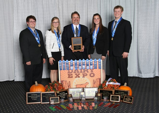 The University of Wisconsin-River Falls took home top honors in the National Intercollegiate Dairy Cattle Judging at World Dairy Expo on Oct. 1. The team is coached by Steve Kelm and consists of Erica Helmer, Kaila Tauchen, Matt Kramer and Clint Irrthum.