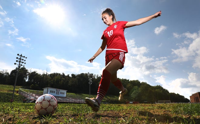 Rosecrans senior Kylan Harper became Muskingum County's all-time leading scorer in soccer this season. She currently has 146 goals for the Bishops, who hope to reach the state final four this year.